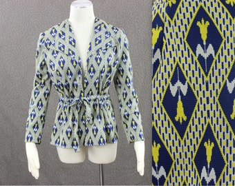 1970's Patterned BLAZER / Waist Tie Jacket / Yellow and Blue Floral Lattice Pattern Outerwear