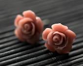 Mocha Pink Flower Earrings. Mocha Pink Earrings. Gardenia Flower Earrings. Silver Stud Earrings. Mocha Pink Rose Earrings. Handmade Jewelry.
