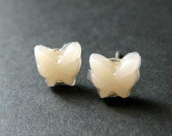 Mini Butterfly Earrings. Apricot Earrings. Silver Post Earrings. Apricot Butterfly Earrings. Stud Earrings. Handmade Jewelry.