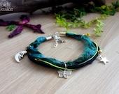 Moon bracelet. Boho Gypsy blue black bracelet. Moon jewelry blue Sari silk, bohemian butterfly star bracelet, boho jewelry. Dark Night Moon