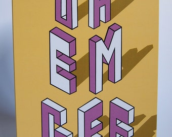 Oh Em Gee Typography Isometric Blank Greeting Card