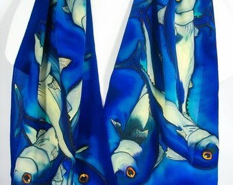 "Fish Silk Scarf. Hand painted silk scarf. Blue Silk Scarf~ 15""x58"" Handpainted silk scarves~Hand-painted silk scarf~Hand-painted silk scarf."