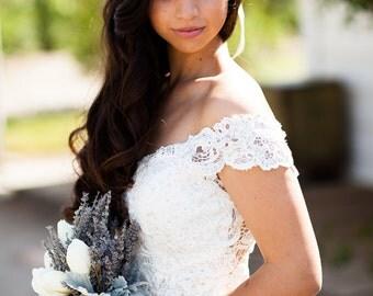 Lavender Halo Real Dried Flower Crown Bridal Hair Wreath Engagement / Wedding