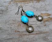 Vintage Turquoise Earrings Brass Bohemian Boho