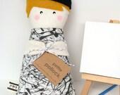 "Art Doll - Pollock, ""Petite Pollock"" cloth doll"