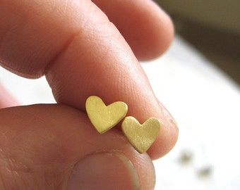 Gold heart  stud earrings , small everyday post earrings , Handmade by Adi Yesod