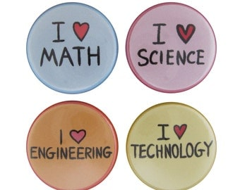 STEM Set of 4 Magnets - Science, Technology, Engineering, Mathematics Refrigerator Magnets