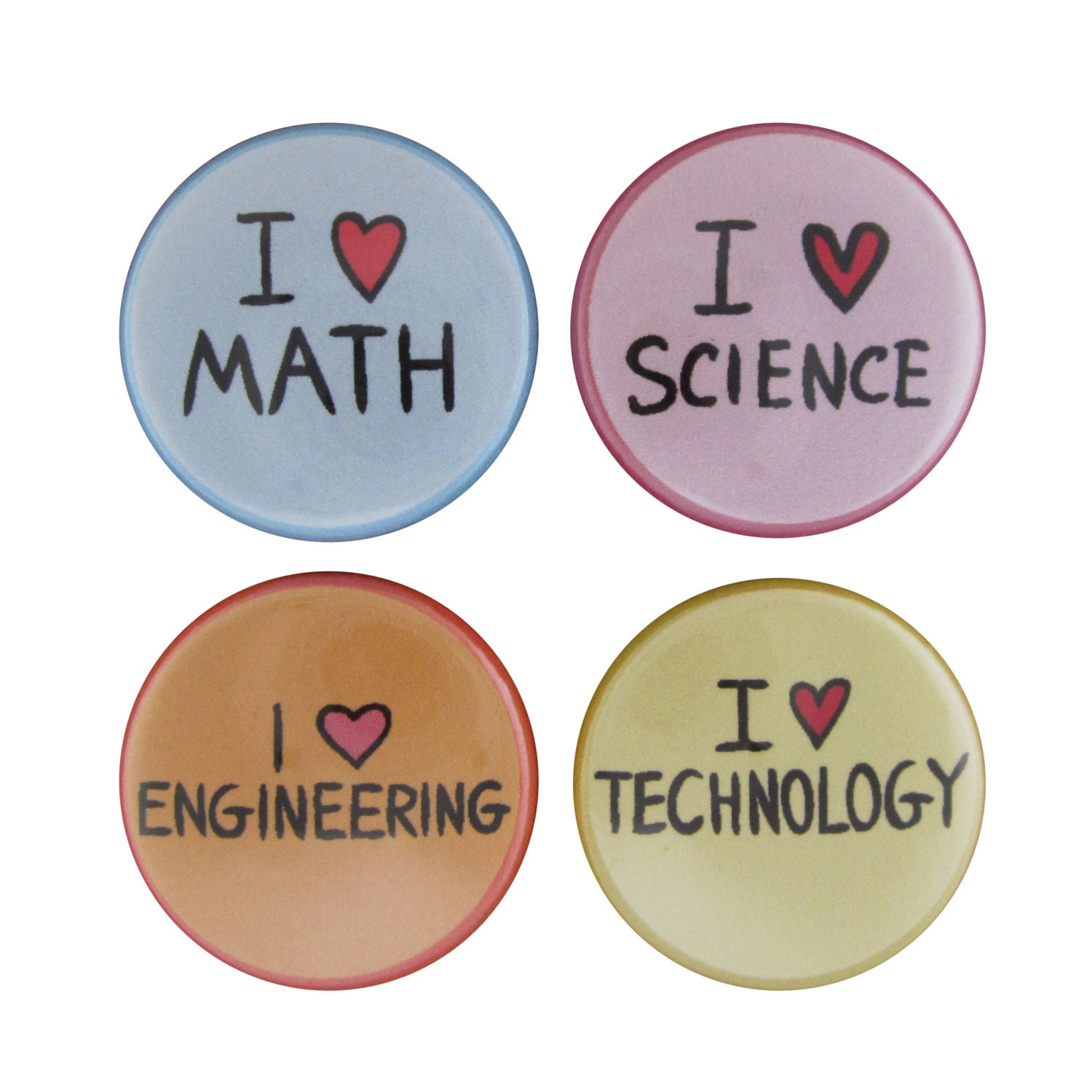 Science Technology Engineering Math: STEM Set Of 4 Magnets Science Technology Engineering