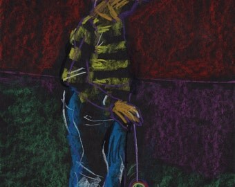 Original Drawing - 'Boy with Yo-Yo' by Peter Mack