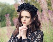 Black velvet flower hairband, flower crown, rose hairpiece, festival flowers