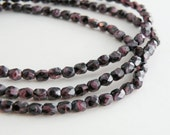 Amethyst purple swirled fire polished Czech glass faceted round beads 4mm half strand NFP4-60