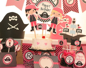 Pink Pirate Party Invitations & Decorations - Girl Pirate - Girl Pirate Birthday Party - Instant Download and Edit at home in Adobe Reader