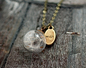 MINI pure&simple - TINY bronze necklace with Real Dandelion Seeds in glass orb and WISH charm. Delicate and elegant jewelry for her!