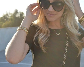 Chevron Charm Gold Necklace
