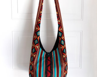MADE TO ORDER Hobo Bag Hippie Purse Crossbody Bag Sling Bag Hippie Bag Boho Bag Aztec Southwestern Geometric Stripes Handmade Purse