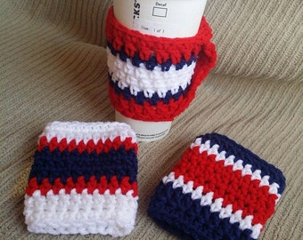 Spring SHOP EVENT Red, White, Blue Coffee Cup Cozy, Handle, Warmer