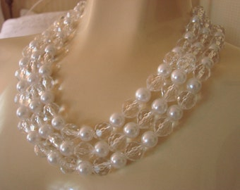 50s Vintage Bead Bib Necklace  / Lucite  / Crystal / Faux Pearl / Three Strands / Vintage Jewelry