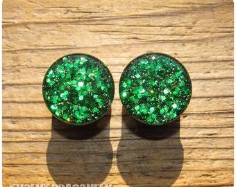 Lucky Shamrock Glitter Plugs - 0g, 00g, 7/16, 1/2, 9/16, 5/8, 3/4, 7/8, 1 Inch