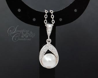 Pearl Necklace, Wedding Pearl Necklace, Wedding Jewelry, Bridal Pearl Necklace, Swarovski, Bridesmaid Gift, White, Ivory W03