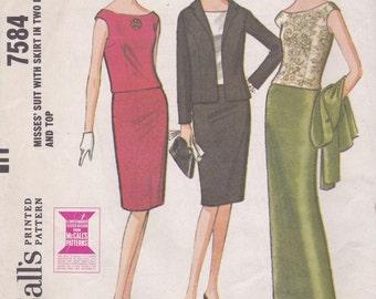1960s Slim Skirt Suit Pattern McCalls 7584 Size 12