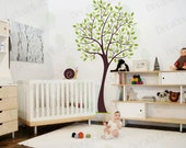 """Tree Wall Decal Nursery Tree Wall Stickers Nursery Decals Baby Kids Room Girls Boys White Stickers Large Mural Removable Vinyl 76"""""""