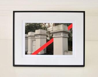 Entrance To House Red Diagonal Stripe Line Art Modern Wall Decor