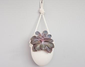 Spora w/ rope: porcelain hanging planter