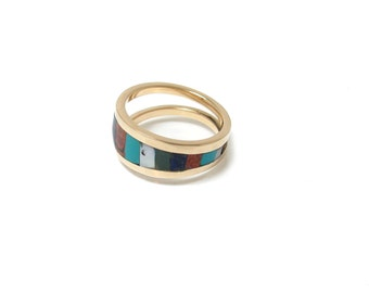 Gold Inlay Ring with Turquoise, Lapiz, Red Coral, Mother of Pearl and Malachite - Modern Inlay Ring - Unique Inlay - Southwest Style Inlay
