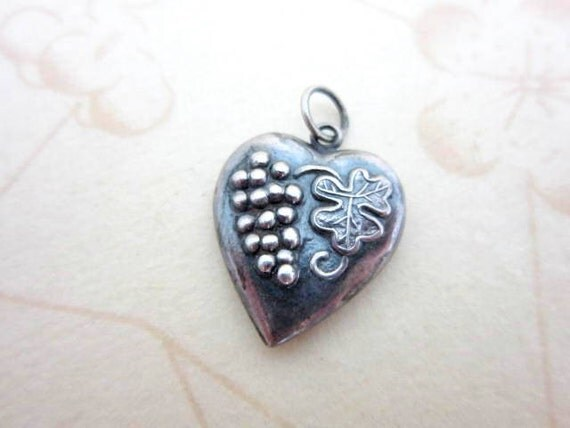 sterling silver puffy heart grape and leaf charm pendant
