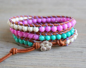 SALE // wrap bracelet - leather beaded wrap - beachy boho jewelry - bohemian jewelry