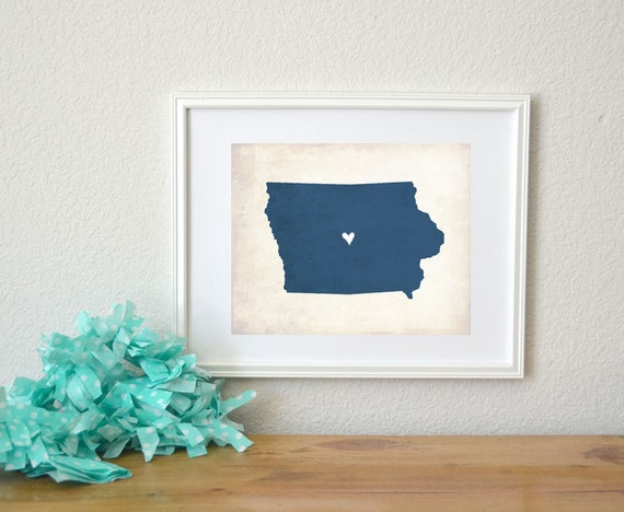 Iowa Rustic State Map. Personalized Iowa Map. Iowa Wedding Map. Wedding Gift. Home Gift. Housewarming Gift. Graduation Map. Art Print 8x10.