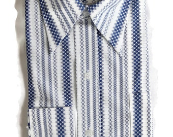 70s Mens Shirt Deadstock Mod Geometric Blue Striped Park Avenue