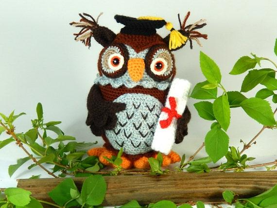 wesley the wise owl amigurumi crochet pattern graduation owl
