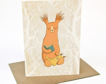 Reading Bears in the Forest - Greeting card