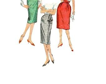 Retro Mad Men Style 60s Pencil Wiggle Skirt Simplicity 3586 Sewing Pattern Slim Fit Cummerbund Kick Pleat Casual Waist 23