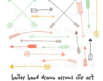 girls arrows clip art, tribal arrow clipart, archery hand drawn arrows, pink turquoise blue yellow tribal digital elements instant download