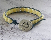 Sweethearts Leather Wrap Bracelet..Silver Stamped Heart Button..Blue Greek Leather & Yellow Tourmalinated Quartzite Stone