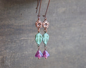 Autumn Leaf Earrings Nature Wedding Earrings Boho Wedding Earrings Bridesmaid Earrings Fall Leaf Jewelry Flower Jewelry Rustic Boho Wedding
