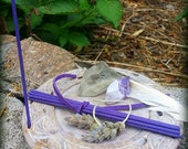 Hand Rolled Japanese Woodless Incense-10 Stick Packs-Lavender-Organic, Woodlesss, Pesticide Free- for Smudging-Winter Solstice, Yule Gift