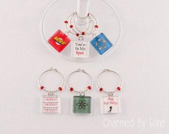 Big Bang Theory Wine Charms - (Set of 6) : Gift idea, big bang theory