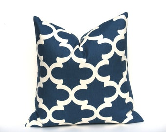 Dark Blue Pillow ONE 22x22 Throw Pillow Covers Decorator Pillow Cover  Morrocan Navy Blue Printed Fabric both sides Blue Pillow Cushion
