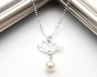 Lotus Necklace, Silver Lotus Necklace with Pearl Charm, Silver and Pearl Necklace, Simple Bridal Necklace, Lotus Jewelry, Bridesmaid Gift.