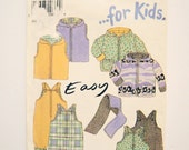 Sewing Pattern for Toddlers Sweatshirt, Vest, and Overalls Winter Clothing Set // sizes 1/2, 1, 2, 3 & 4 // NEW LOOK for Kids 6659
