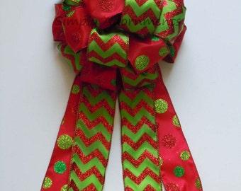Chevron Polka Dots Christmas Tree Bow Christmas Tree Topper Bow Red Green Chevron Christmas Wreath Bow Garland Bow Mantle Bow
