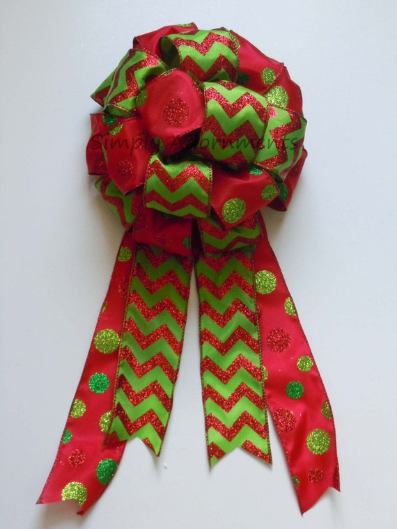 Red lime Christmas tree Topper Bow Chevron Polka Dots Christmas Tree Bow Red Green Chevron Dots Christmas Wreath Bow Garland Bow Mantle Bow