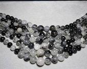 Black Rutilated Quartz Round Graduating Beads 6mm - 15mm
