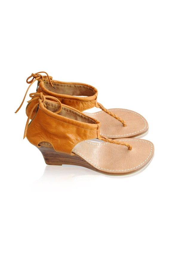 APHRODITE. Leather wedges / wedge heels / leather high heels / leather sandals / shoes. Sizes 35-43. Available in different leather colors.