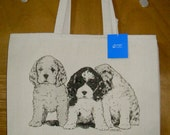 Trio of American COCKER SPANIEL  Puppies  - Coming&Going double design X-Large Cotton Canvas Tote Bag