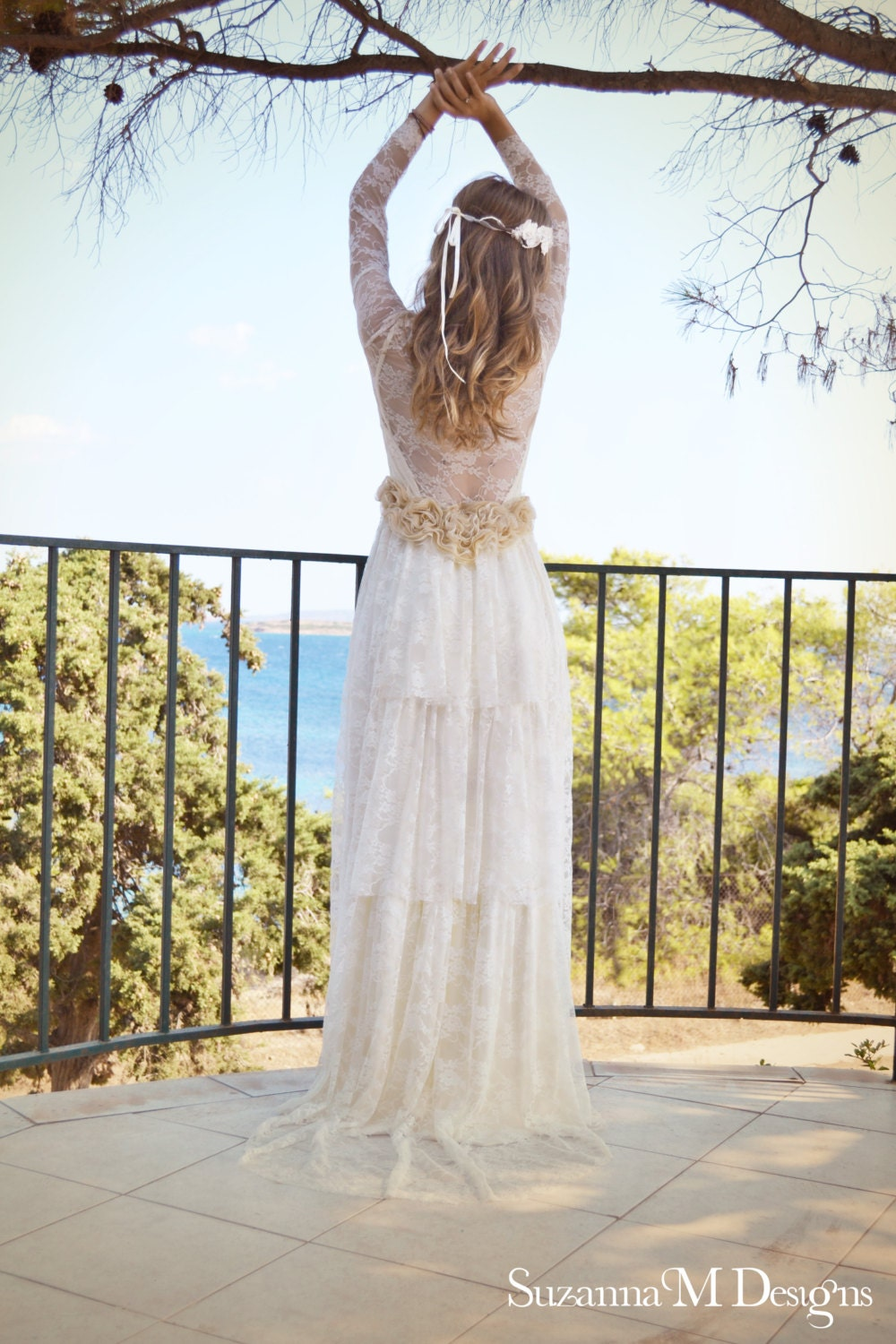 Boho Lace Wedding Dress Etsy : Wedding dress beach boho lace