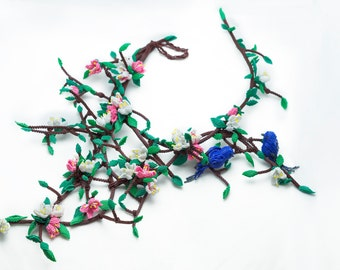 A tree-coming from inside of me-the introspection necklace-OOAK.Beadwoven necklace.Beadwork witk Miyuki Delica.Beaded flowers,birds,spring.
